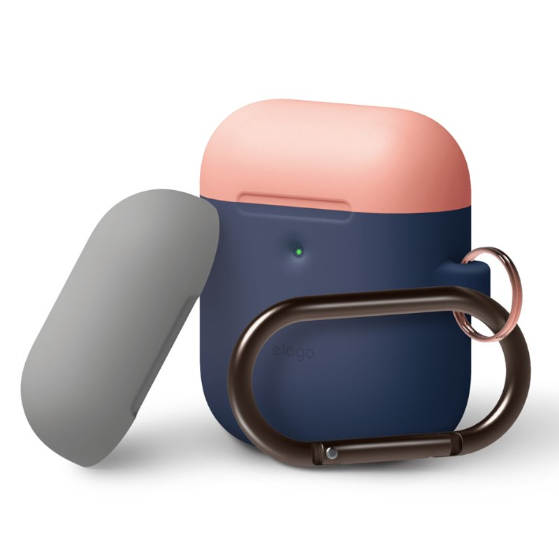 [ELAGO] AirPods 무선 Duo Hang Case - 피치/그레이