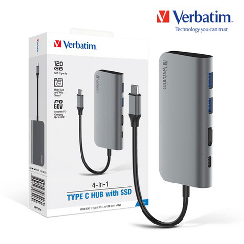 [VERBATIM] SSD 120G 4 -in-1 Type C Hub