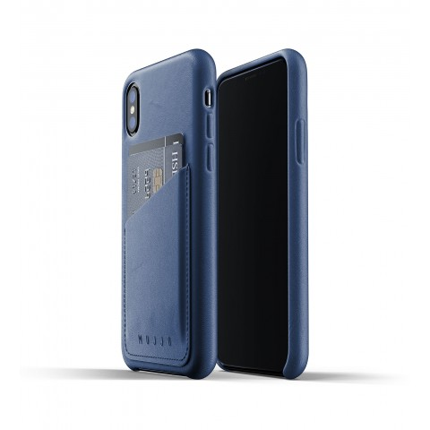 [MUJJO] Full Leather Wallet Case for iPhone XS Max - Blue