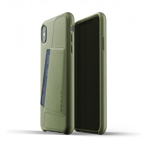 [MUJJO] Full Leather Wallet Case for iPhone XS Max - Olive