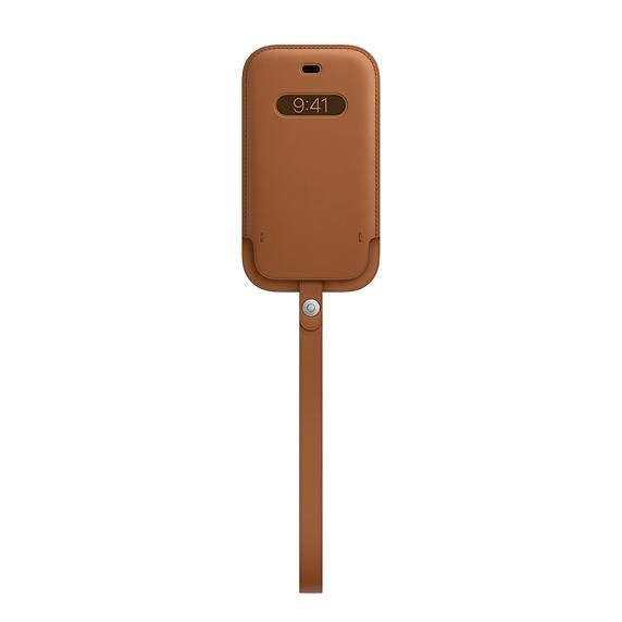 MagSafe iPhone 12 mini 가죽 슬리브 - 새들 브라운 (MHMP3FE/A)