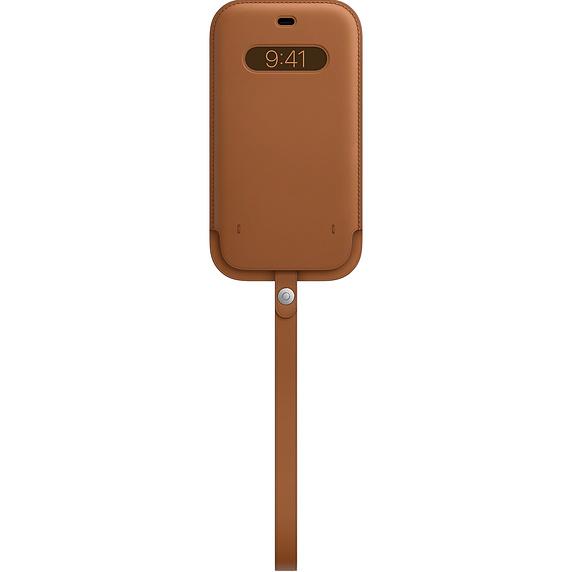 MagSafe iPhone 12 Pro Max 가죽 슬리브 - 새들 브라운 (MHYG3FE/A)