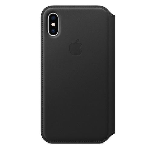 iPhone XS 가죽 폴리오 케이스 - 블랙 (MRWW2FE/A)
