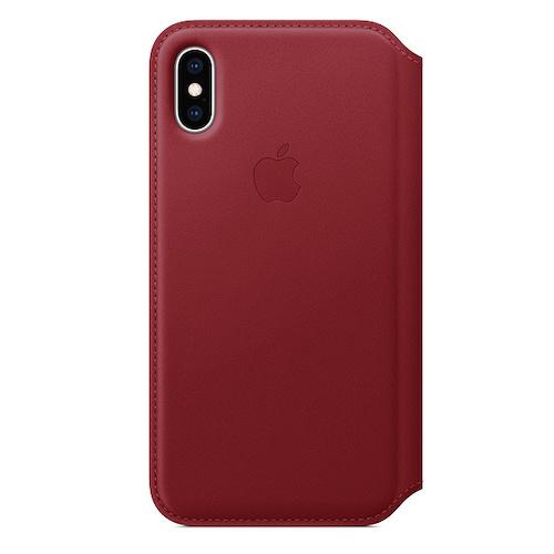 iPhone XS 가죽 폴리오 케이스 - (PRODUCT)RED (MRWX2FE/A)