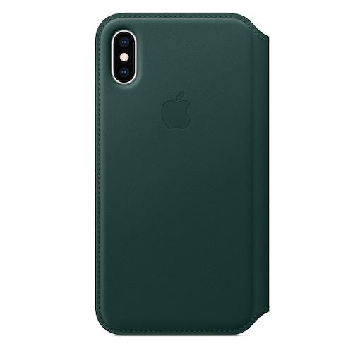 iPhone XS 가죽 폴리오 케이스 - 포레스트 그린 (MRWY2FE/A)