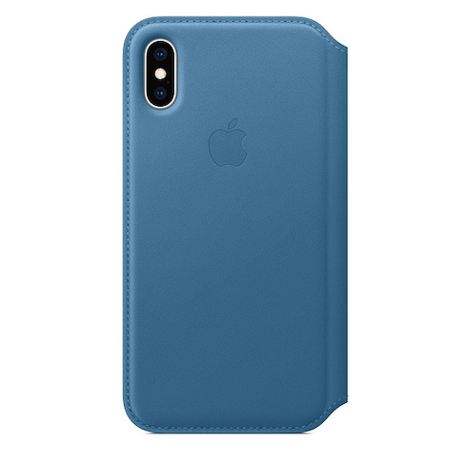 iPhone XS 가죽 폴리오 케이스 - 케이프코드 블루 (MRX02FE/A)