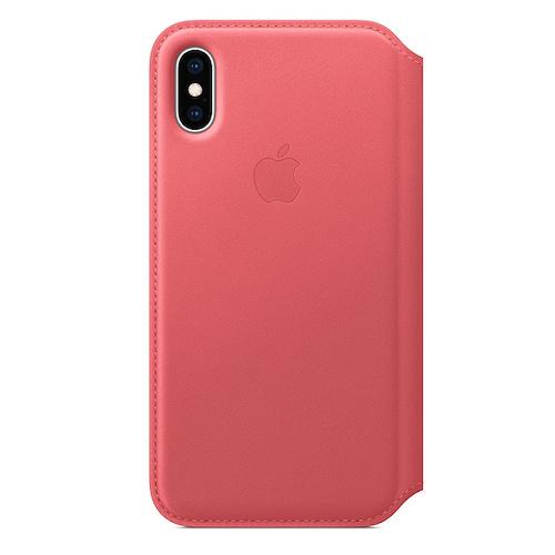 iPhone XS 가죽 폴리오 케이스 - 피오니 핑크 (MRX12FE/A)