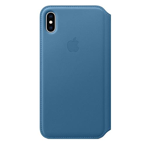 iPhone XS Max 가죽 폴리오 케이스 - 케이프코드 블루 (MRX52FE/A)