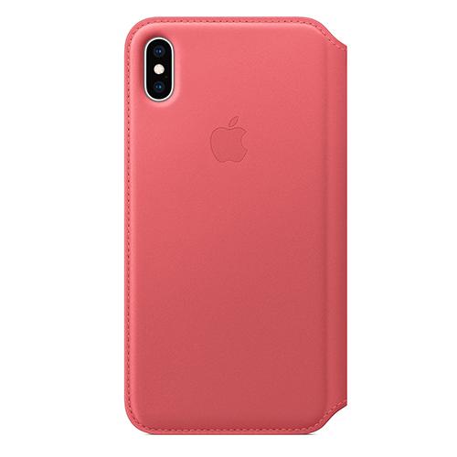 iPhone XS Max 가죽 폴리오 케이스 - 피오니 핑크 (MRX62FE/A)