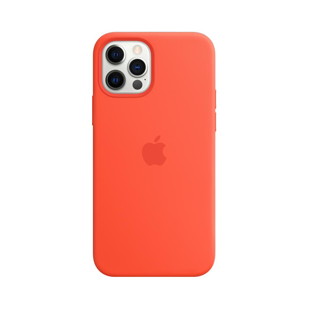 Mag Safe형 iPhone12/12Pro 실리콘케이스 - 일렉트릭 오렌지 (MKTR3FE/A)