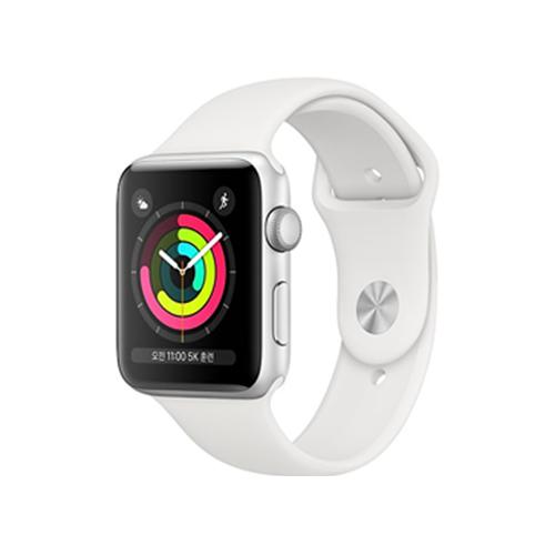 Apple Watch Series 3 GPS 42mm 실버 알루미늄 케이스와 화이트 스포츠 밴드 (MTF22KH/A)