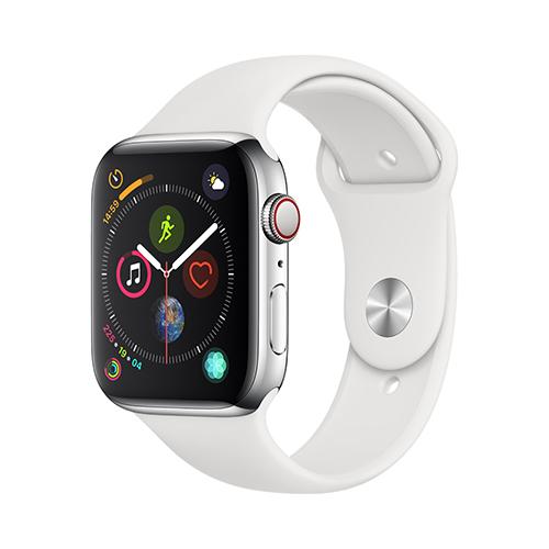 Apple Watch Series 4 GPS+Cellular 44mm 스테인리스 스틸 케이스와 화이트 스포츠 밴드 (MTX02KH/A)