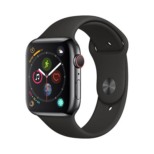 Apple Watch Series 4 GPS+Cellular 40mm 스페이스블랙 스테인리스 스틸 케이스와 블랙 스포츠 밴드 (MTVL2KH/A)