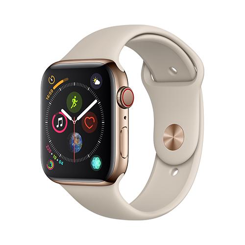 Apple Watch Series 4 GPS+Cellular 44mm 골드 스테인리스 스틸 케이스와 스톤 스포츠 밴드 (MTX42KH/A)