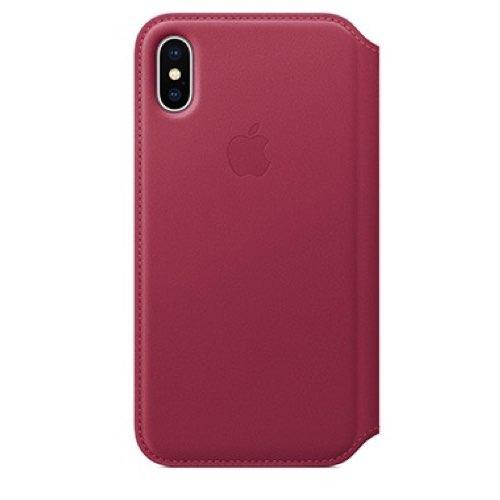 iPhone X 가죽 폴리오 케이스 - 베리 (MQRX2FE/A)