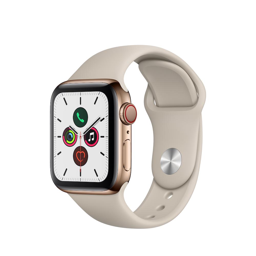 Apple Watch Series 5 Cellular 40mm 골드 스테인리스 스틸 케이스와 스톤 스포츠 밴드 (MWX62KH/A)