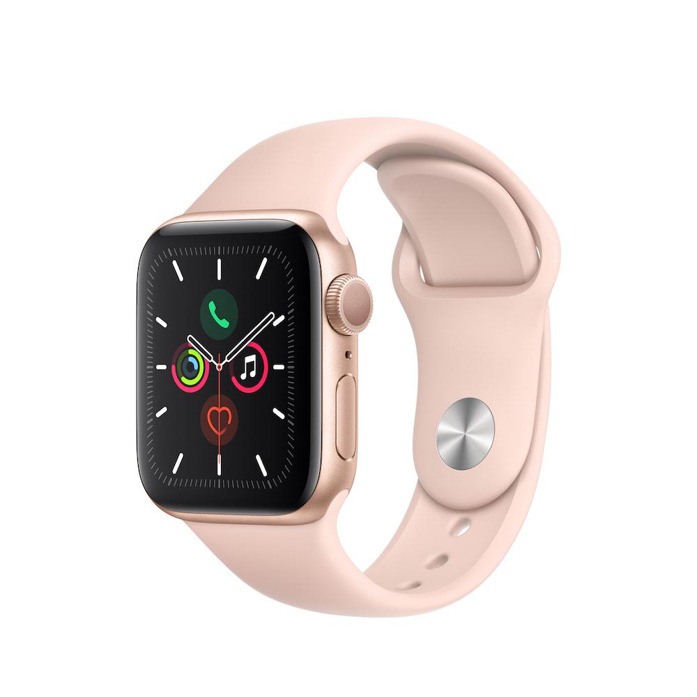 Apple Watch Series 5 GPS 40mm 골드 알루미늄 케이스와 핑크샌드 스포츠 밴드 (MWV72KH/A)