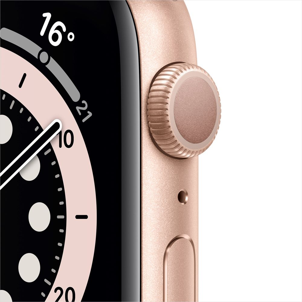 Apple Watch Series 6 GPS 44mm 골드 알루미늄 케이스, 그리고 핑크샌드 스포츠 밴드 (M00E3KH/A)