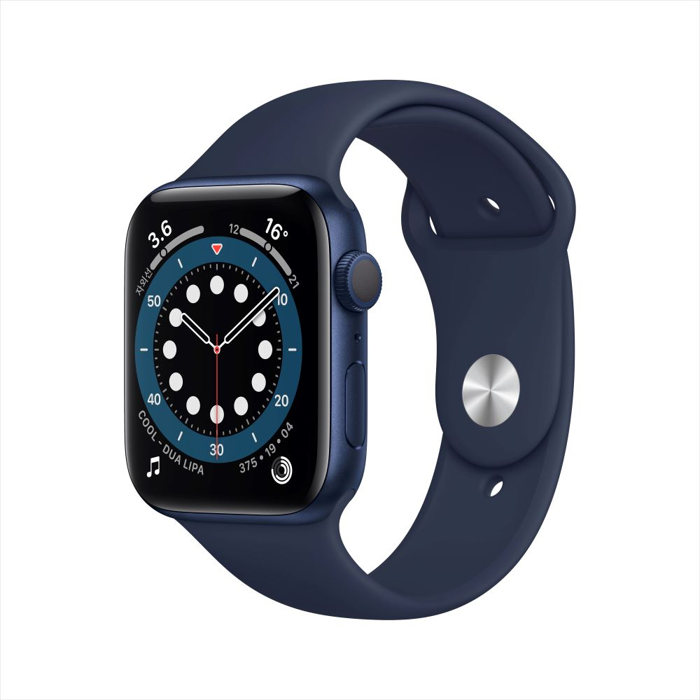 Apple Watch Series 6 GPS 44mm 블루 알루미늄 케이스, 그리고 딥 네이비 스포츠 밴드 (M00J3KH/A)