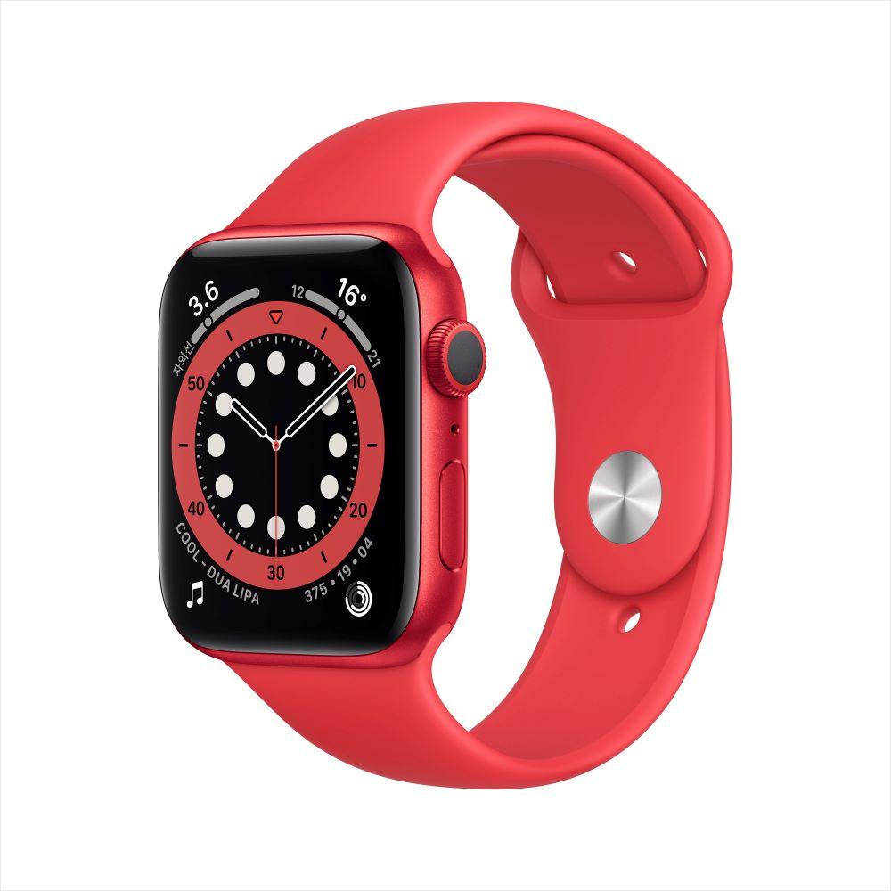 Apple Watch Series 6 GPS 44mm RED 알루미늄 케이스, 그리고 RED 스포츠 밴드 (M00M3KH/A)