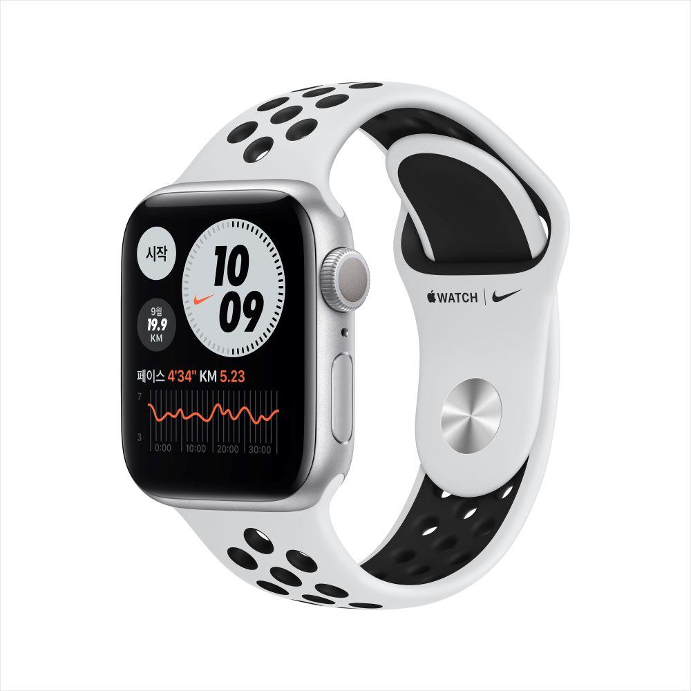 Apple Watch Series 6 Nike GPS 40mm 실버 알루미늄 케이스, 그리고 퓨어 플래티넘/블랙 Nike 스포츠 밴드 (M00T3KH/A)
