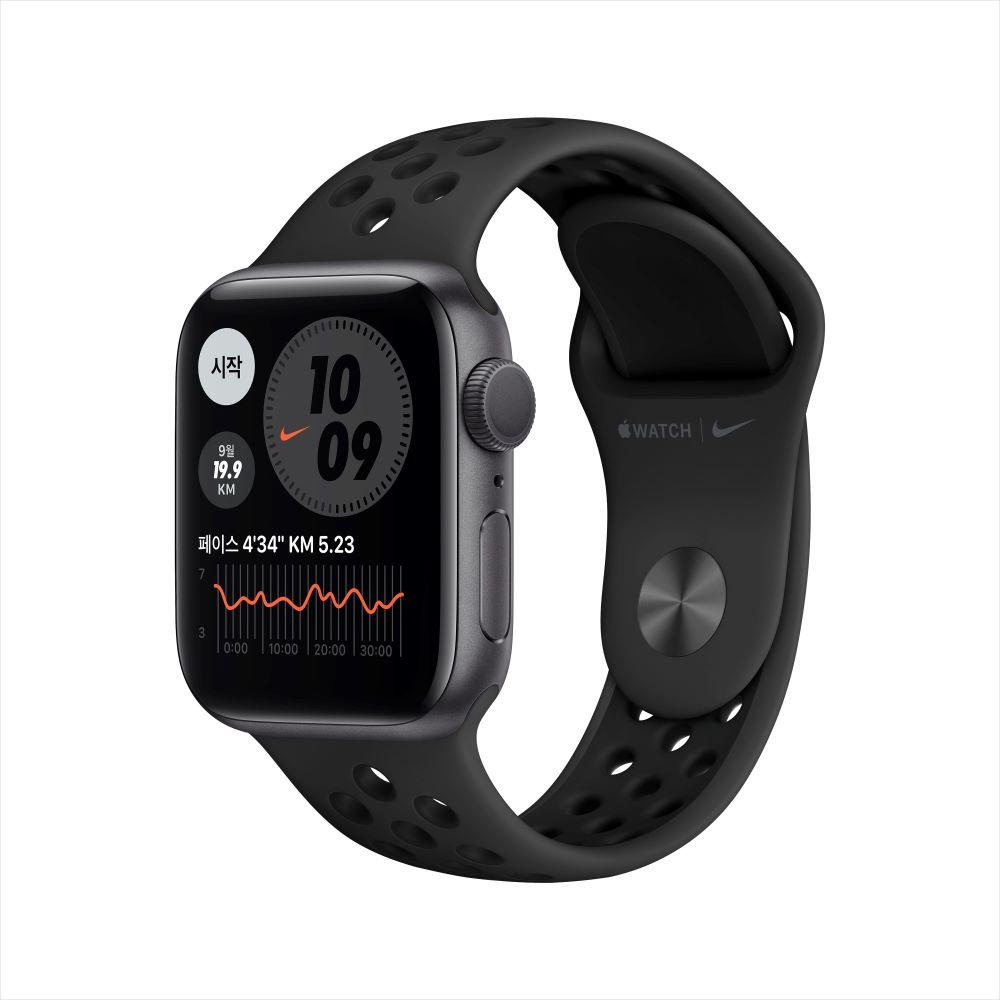 Apple Watch Series 6 Nike GPS 40mm 스페이스그레이 알루미늄 케이스, 그리고 안트라/블랙 Nike 스포츠 밴드 (M00X3KH/A)