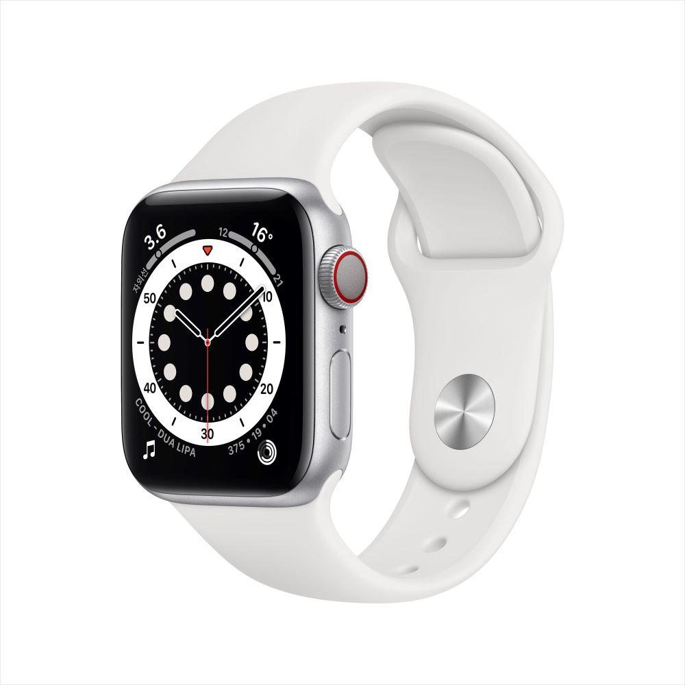 Apple Watch Series 6 Cellular 40mm 실버 알루미늄 케이스, 그리고 화이트 스포츠 밴드 (M06M3KH/A)