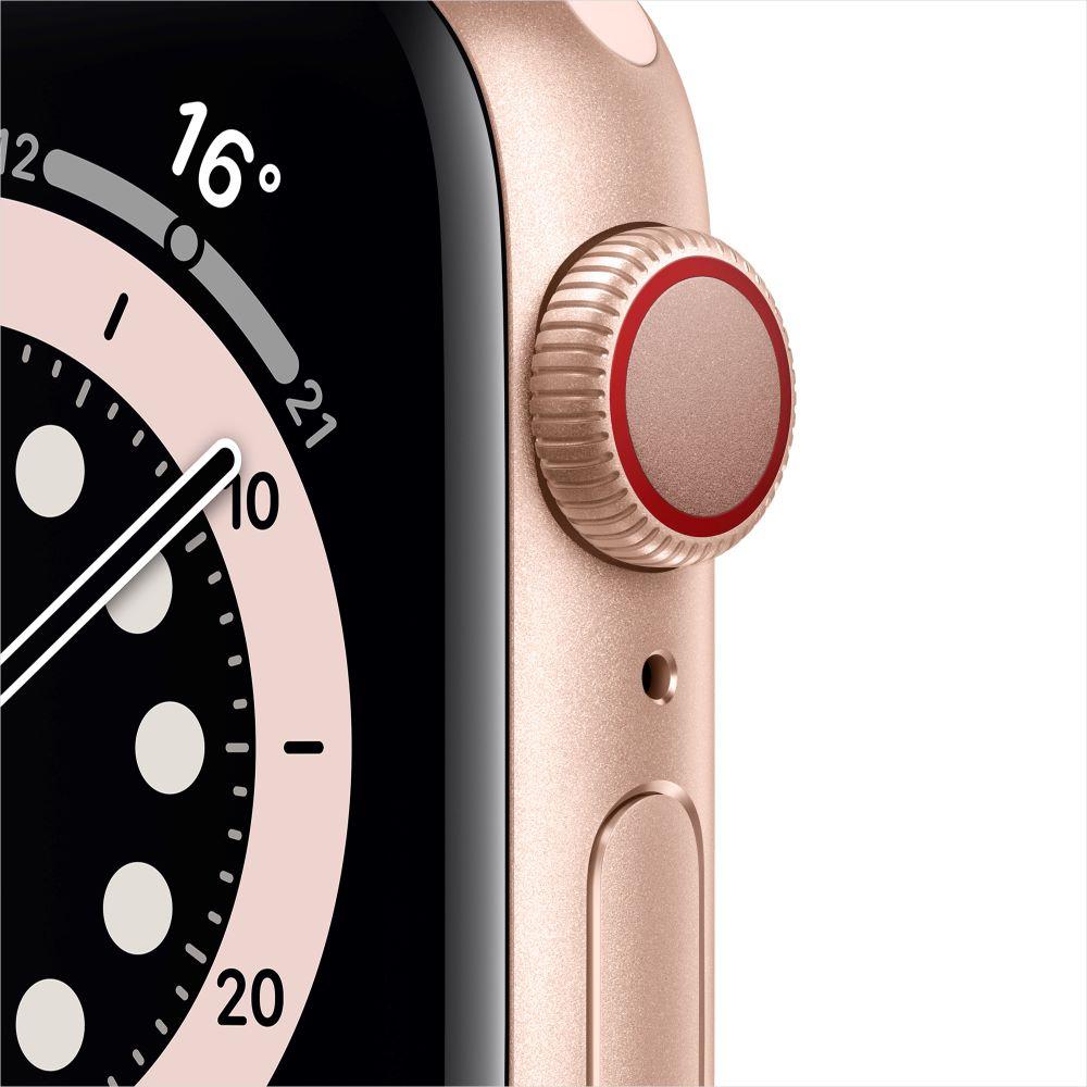 Apple Watch Series 6 Cellular 40mm 골드 알루미늄 케이스, 그리고 핑크샌드 스포츠 밴드 (M06N3KH/A)