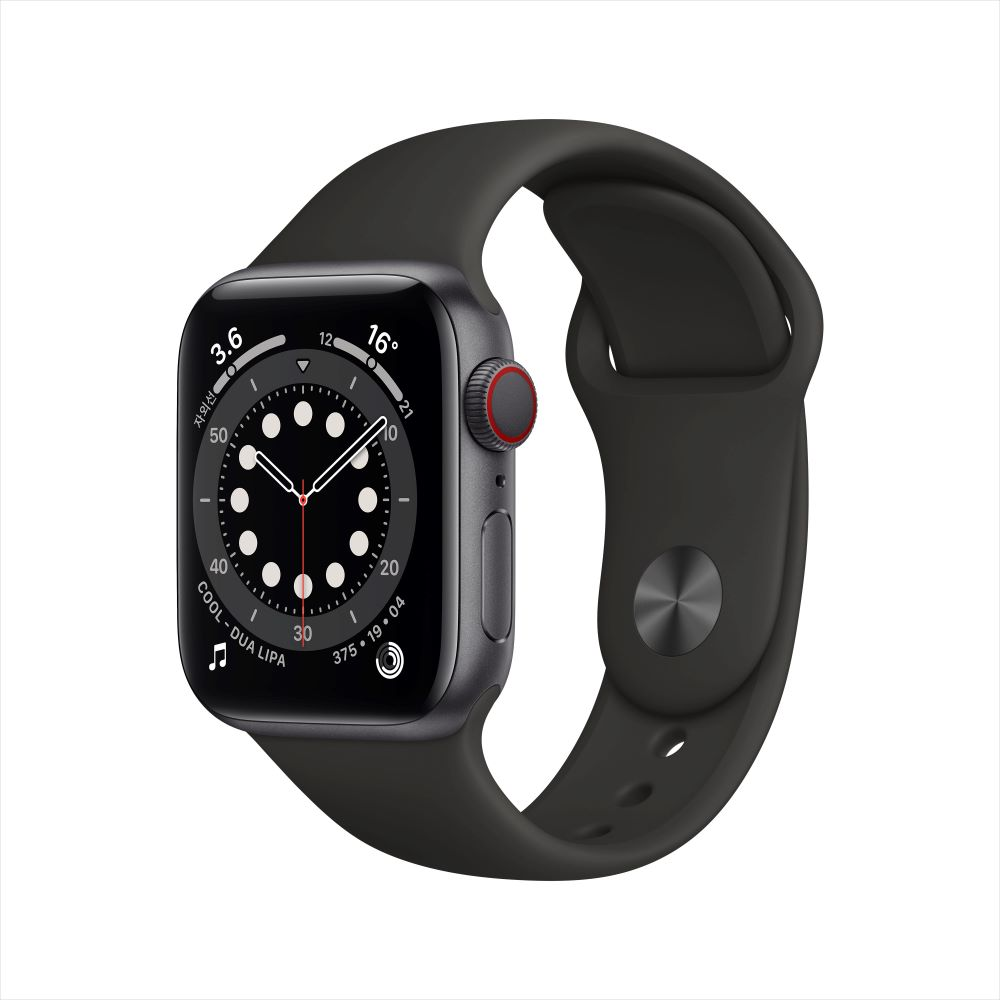 Apple Watch Series 6 Cellular 40mm 스페이스그레이 알루미늄 케이스, 그리고 블랙 스포츠 밴드 (M06P3KH/A)