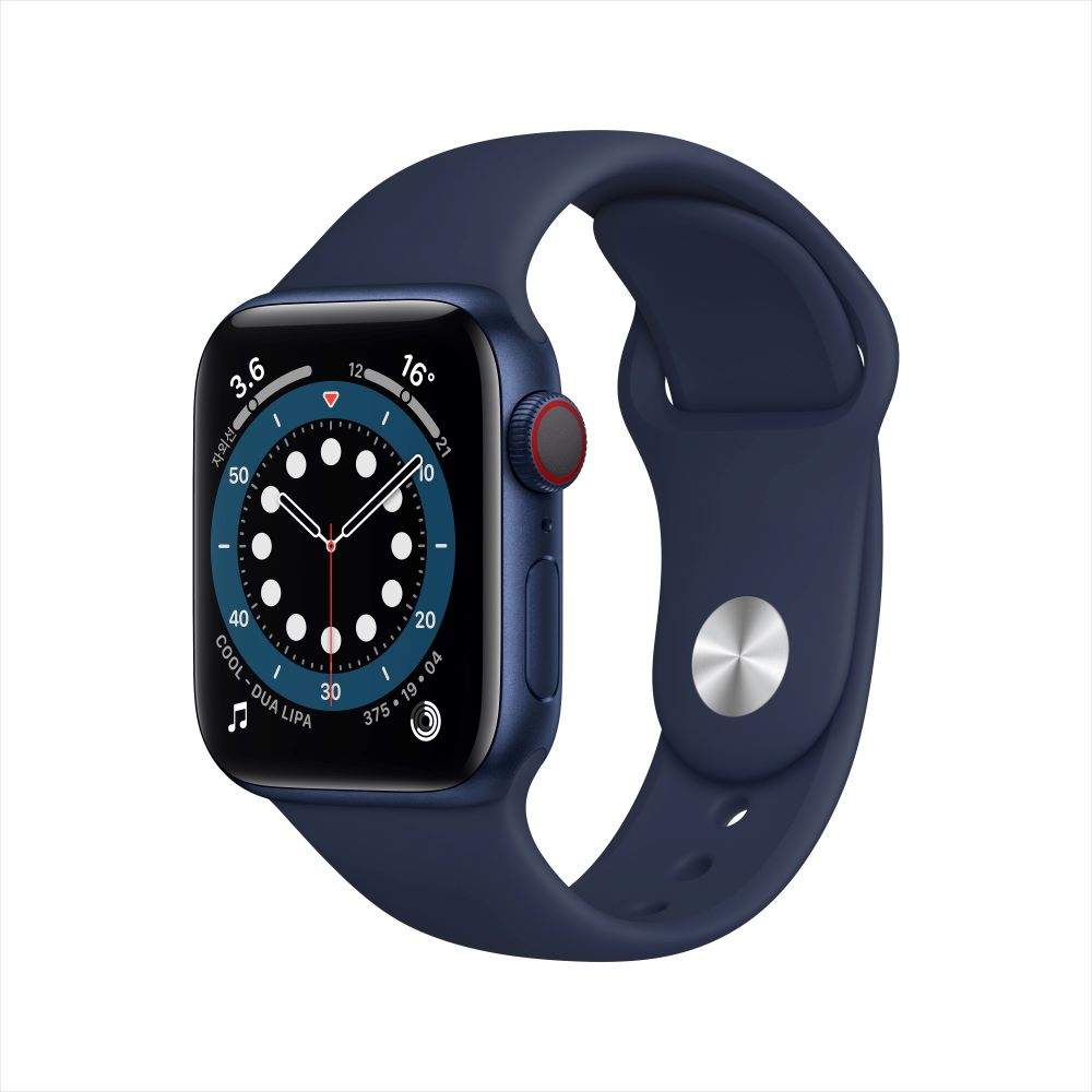 Apple Watch Series 6 Cellular 40mm 블루 알루미늄 케이스, 그리고 딥 네이비 스포츠 밴드 (M06Q3KH/A)