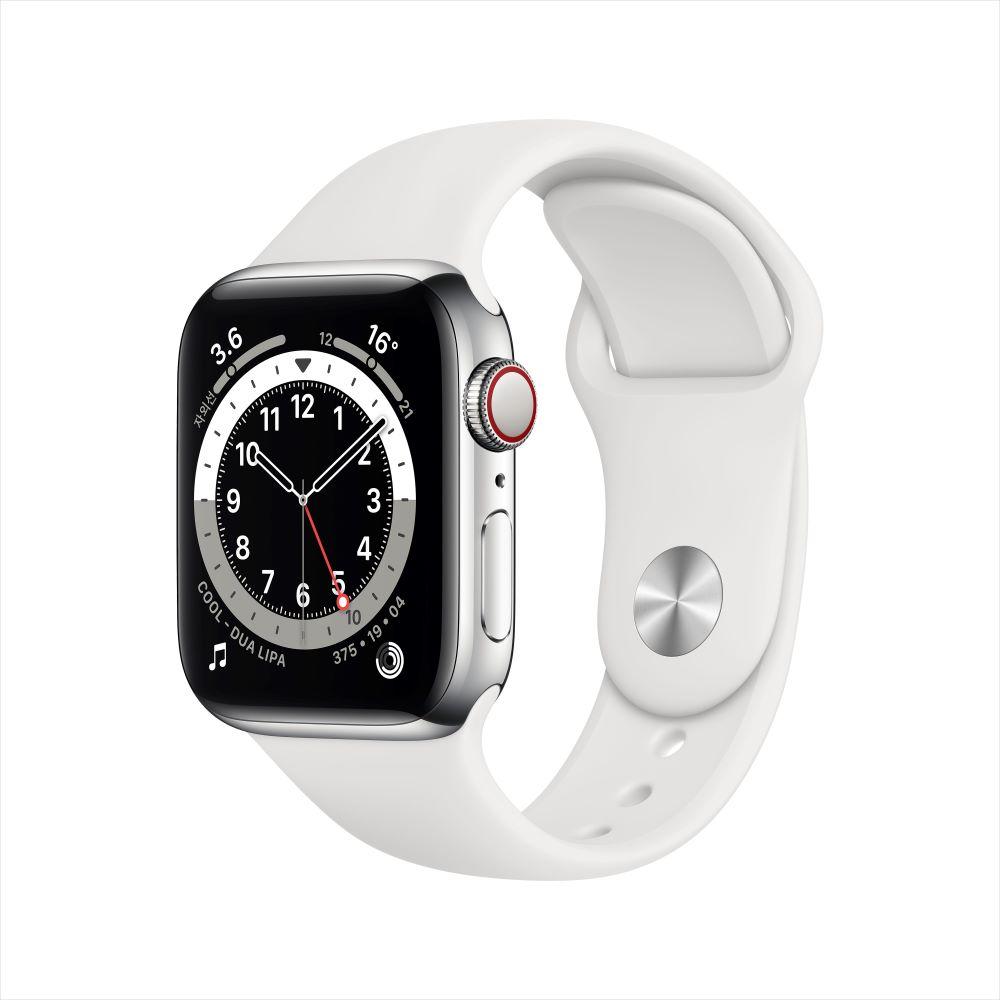 Apple Watch Series 6 Cellular 40mm 실버 스테인리스 케이스, 그리고 화이트 스포츠 밴드 (M06T3KH/A)