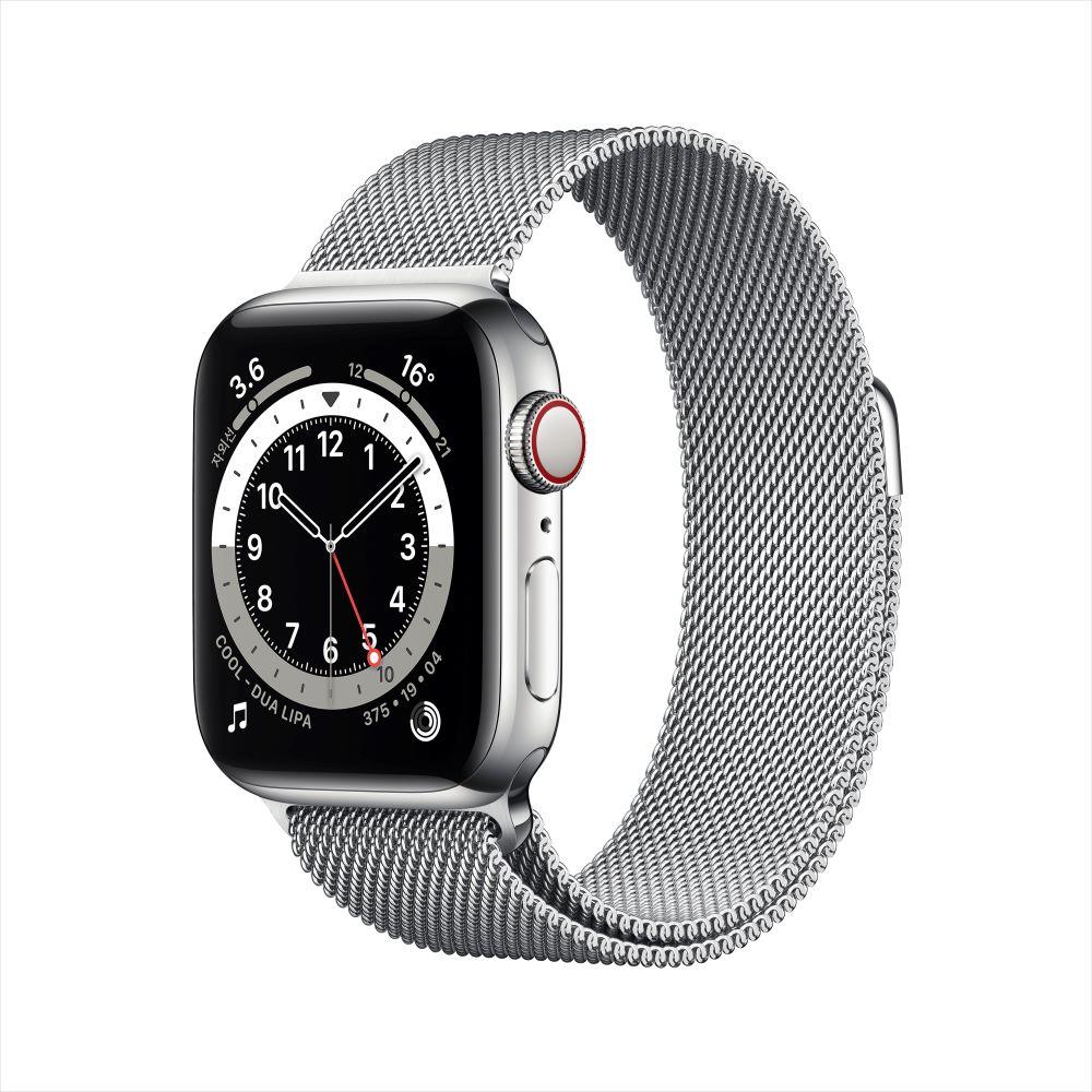 Apple Watch Series 6 Cellular 40mm 실버 스테인리스 케이스, 그리고 실버 밀레니즈 루프 (M06U3KH/A)