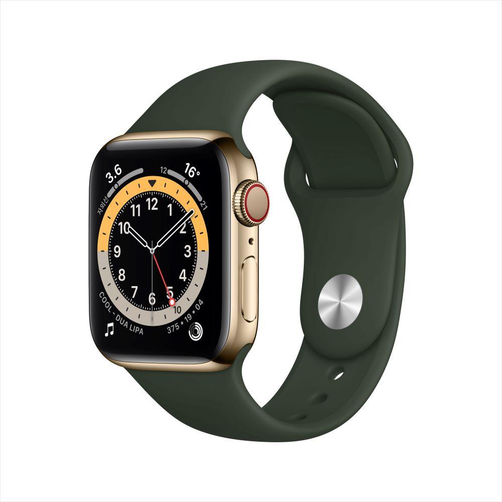 Apple Watch Series 6 Cellular 40mm 골드 스테인리스 케이스, 그리고 사이프러스 그린 스포츠 밴드 (M06V3KH/A)