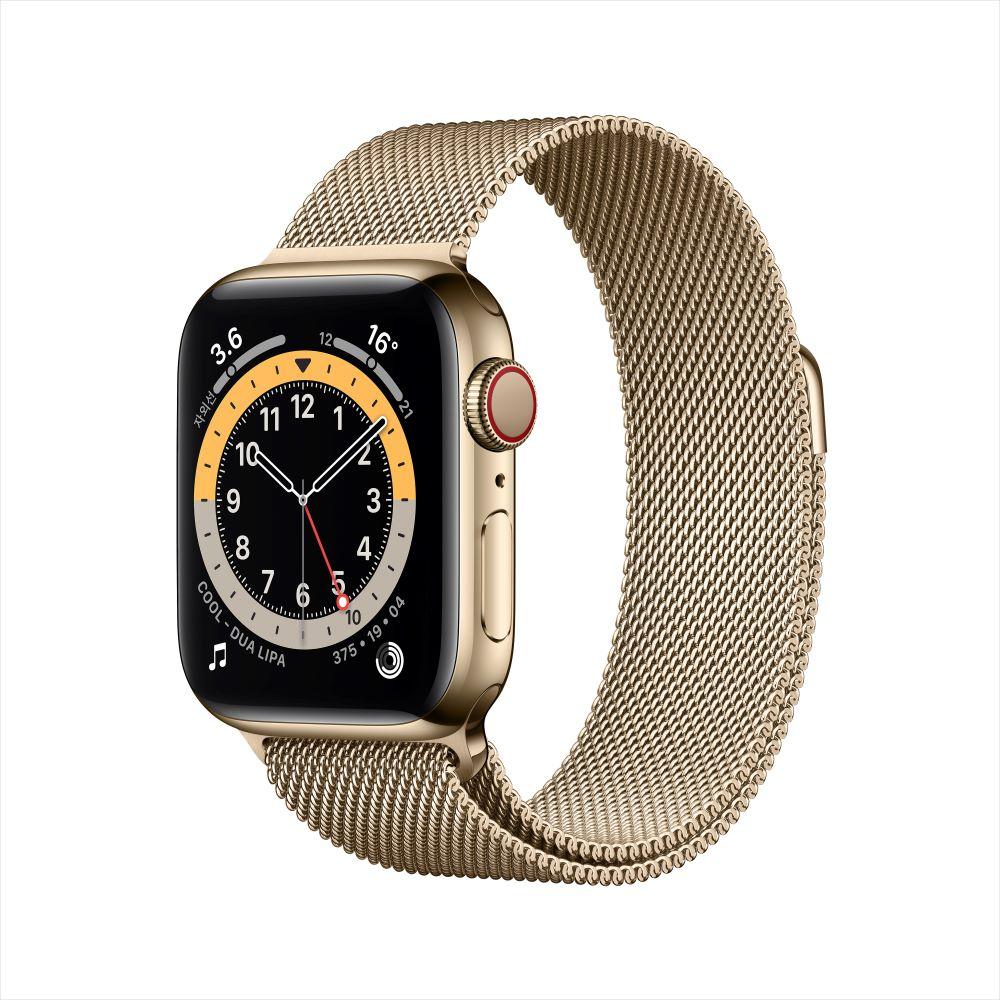 [사전예약] Apple Watch Series 6 Cellular 40mm 골드 스테인리스 케이스, 그리고 골드 밀레니즈 루프 (M06W3KH/A)