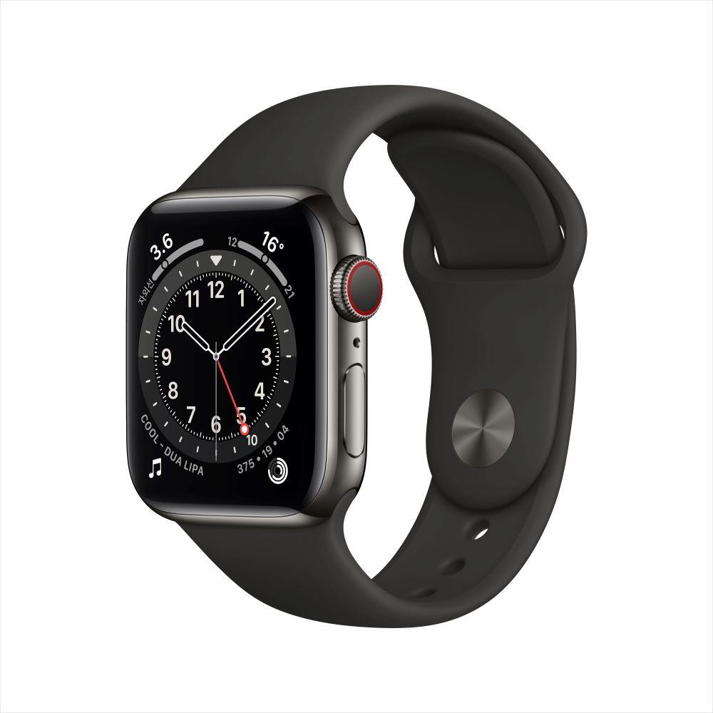[사전예약] Apple Watch Series 6 Cellular 40mm 그래파이트 스테인리스 케이스, 그리고 블랙 스포츠 밴드 (M06X3KH/A)