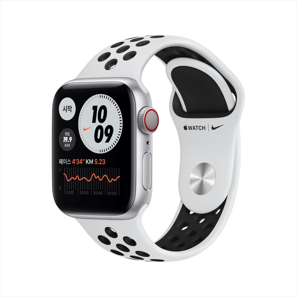 Apple Watch Series 6 Nike Cellular 40mm 실버 알루미늄 케이스, 그리고 퓨어 플래티넘/블랙 Nike 스포츠 밴드 (M07C3KH/A)