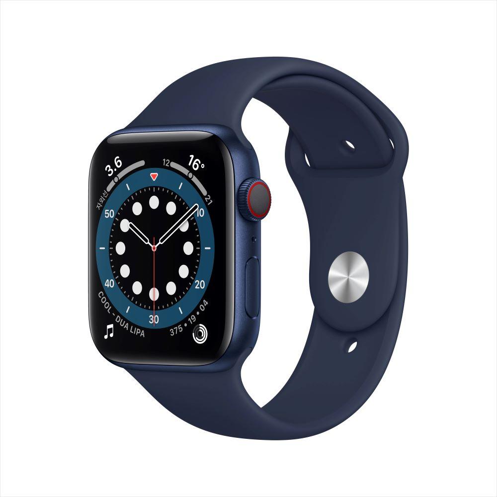 Apple Watch Series 6 Cellular 44mm 블루 알루미늄 케이스, 그리고 딥 네이비 스포츠 밴드 (M09A3KH/A)
