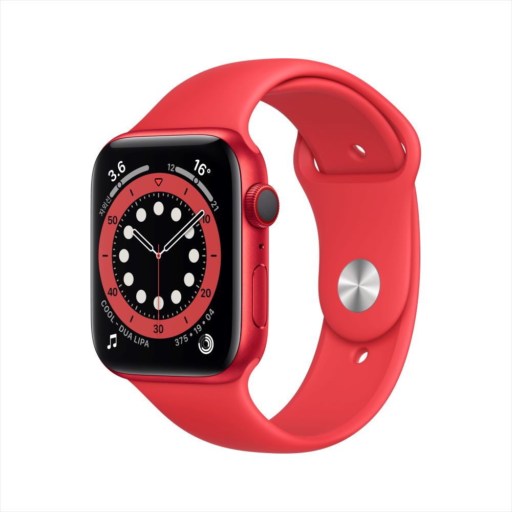 Apple Watch Series 6 Cellular 44mm RED 알루미늄 케이스, 그리고 RED 스포츠 밴드 (M09C3KH/A)