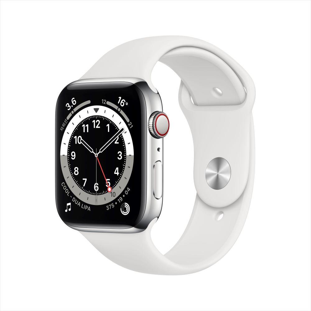 Apple Watch Series 6 Cellular 44mm 실버 스테인리스 케이스, 그리고 화이트 스포츠 밴드 (M09D3KH/A)