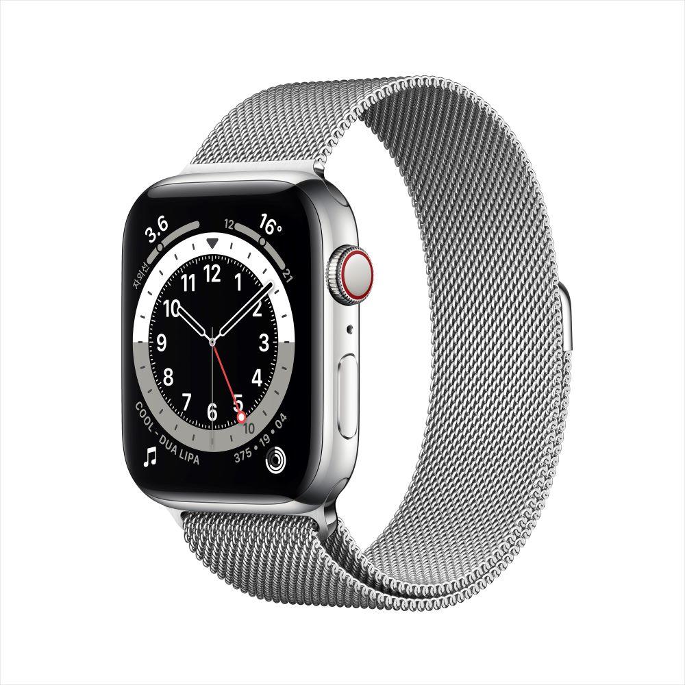 Apple Watch Series 6 Cellular 44mm 실버 스테인리스 케이스, 그리고 실버 밀레니즈 루프 (M09E3KH/A)