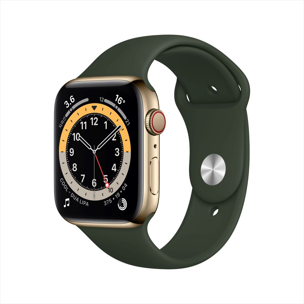 Apple Watch Series 6 Cellular 44mm 골드 스테인리스 케이스, 그리고 사이프러스 그린 스포츠 밴드 (M09F3KH/A)