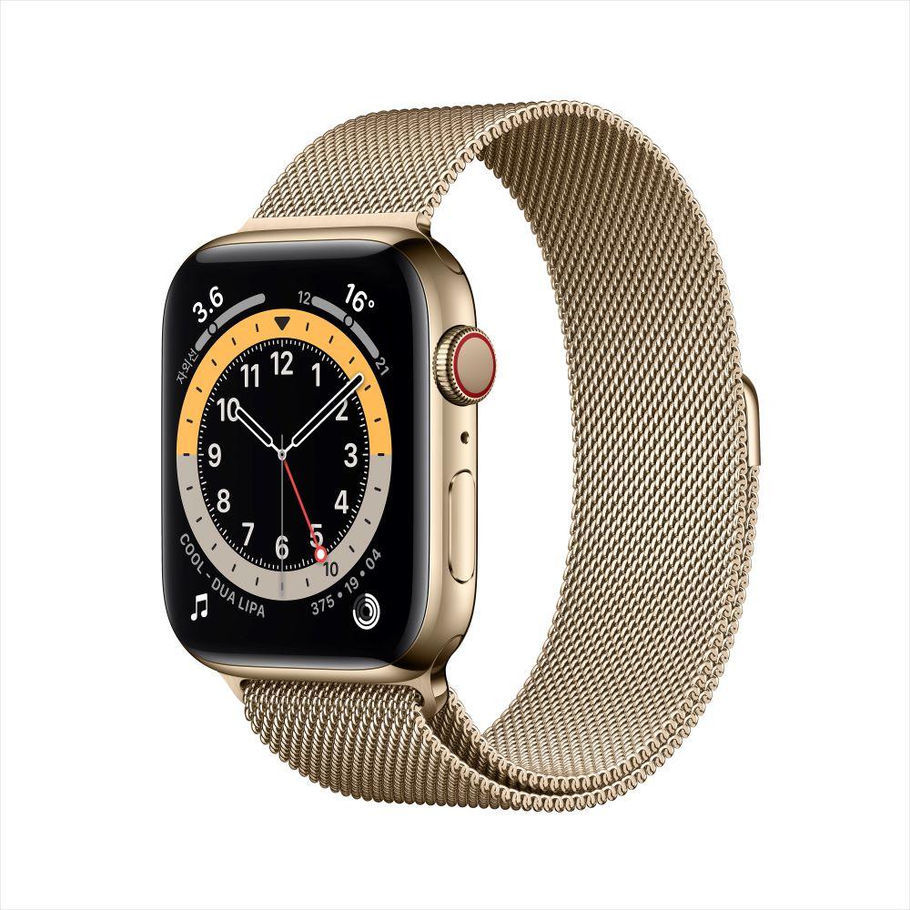 [사전예약] Apple Watch Series 6 Cellular 44mm 골드 스테인리스 케이스, 그리고 골드 밀레니즈 루프 (M09G3KH/A)