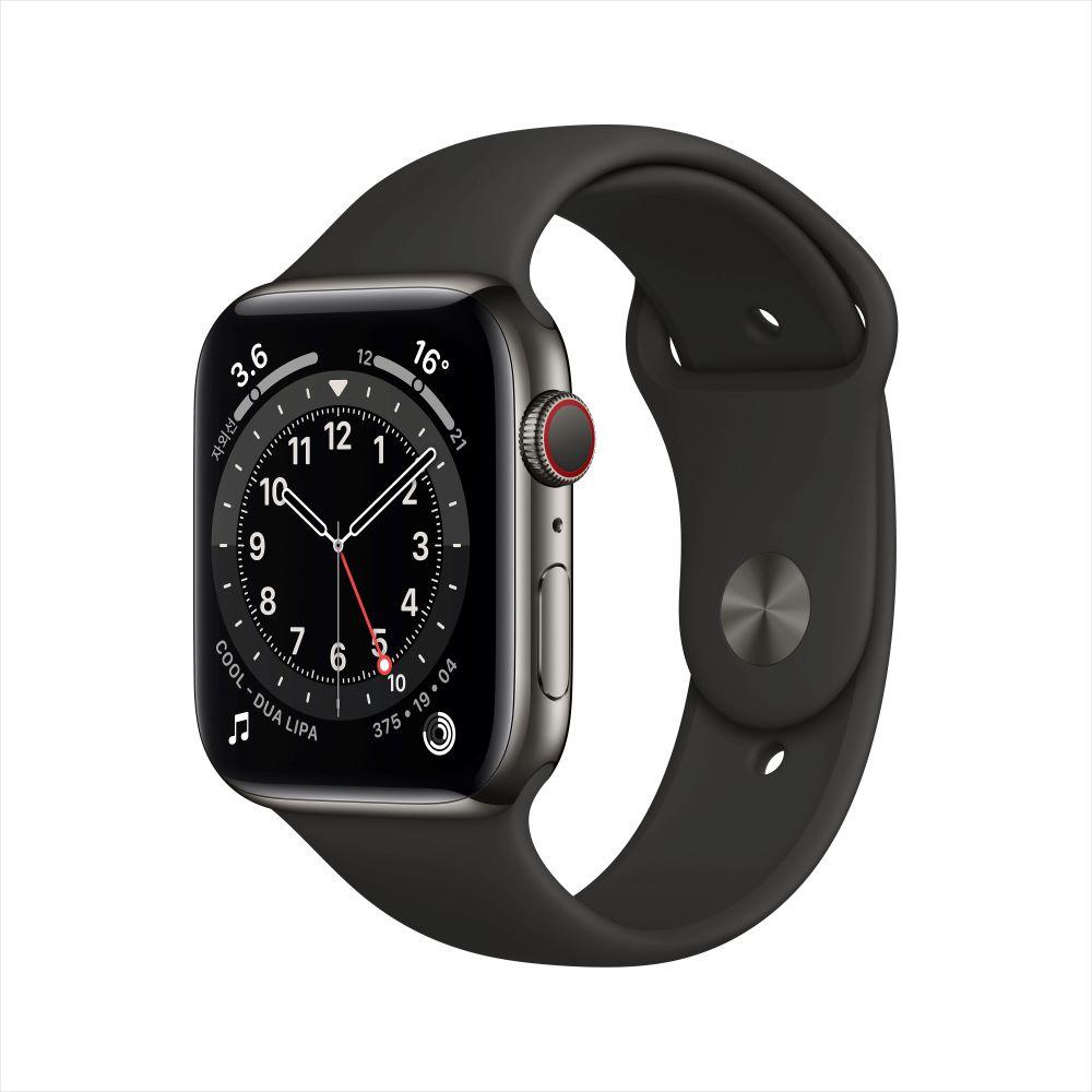 Apple Watch Series 6 Cellular 44mm 그래파이트 스테인리스 케이스, 그리고 블랙 스포츠 밴드 (M09H3KH/A)