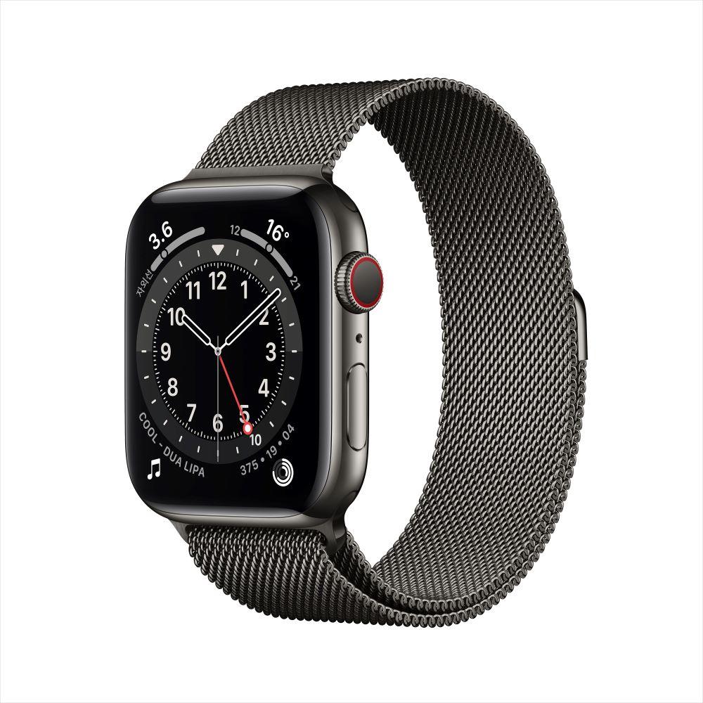 Apple Watch Series 6 Cellular 44mm 그래파이트 스테인리스 케이스, 그리고 그래파이트 밀레니즈 루프 (M09J3KH/A)