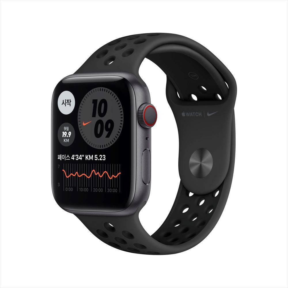 Apple Watch Series 6 Nike Cellular 44mm 스페이스그레이 알루미늄 케이스, 그리고 안트라/블랙 Nike 스포츠 밴드 (M09Y3KH/A)