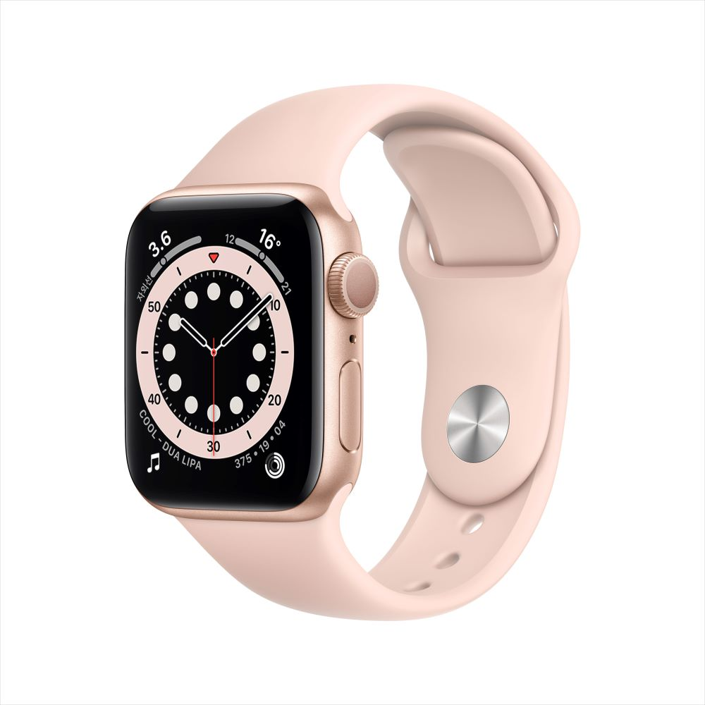 Apple Watch Series 6 GPS 40mm 골드 알루미늄 케이스, 그리고 핑크샌드 스포츠 밴드 (MG123KH/A)