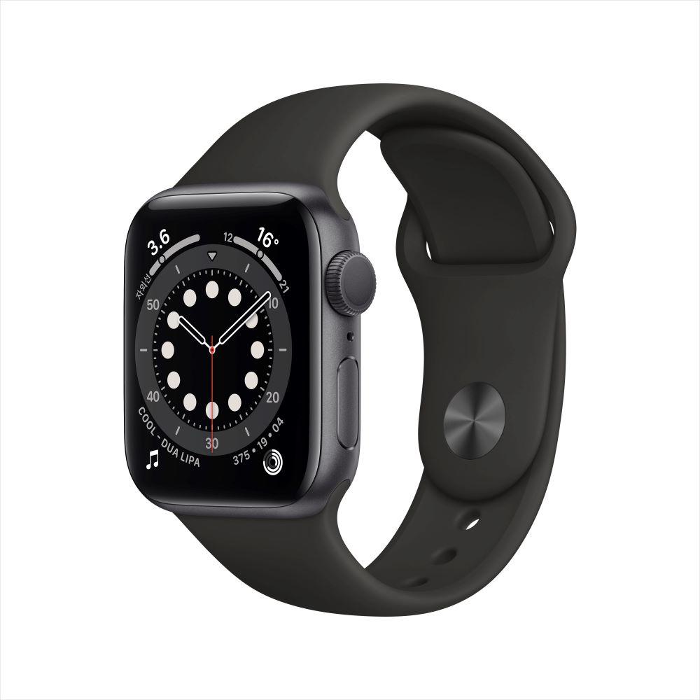 Apple Watch Series 6 GPS 40mm 스페이스그레이 알루미늄 케이스, 그리고 블랙 스포츠 밴드 (MG133KH/A)
