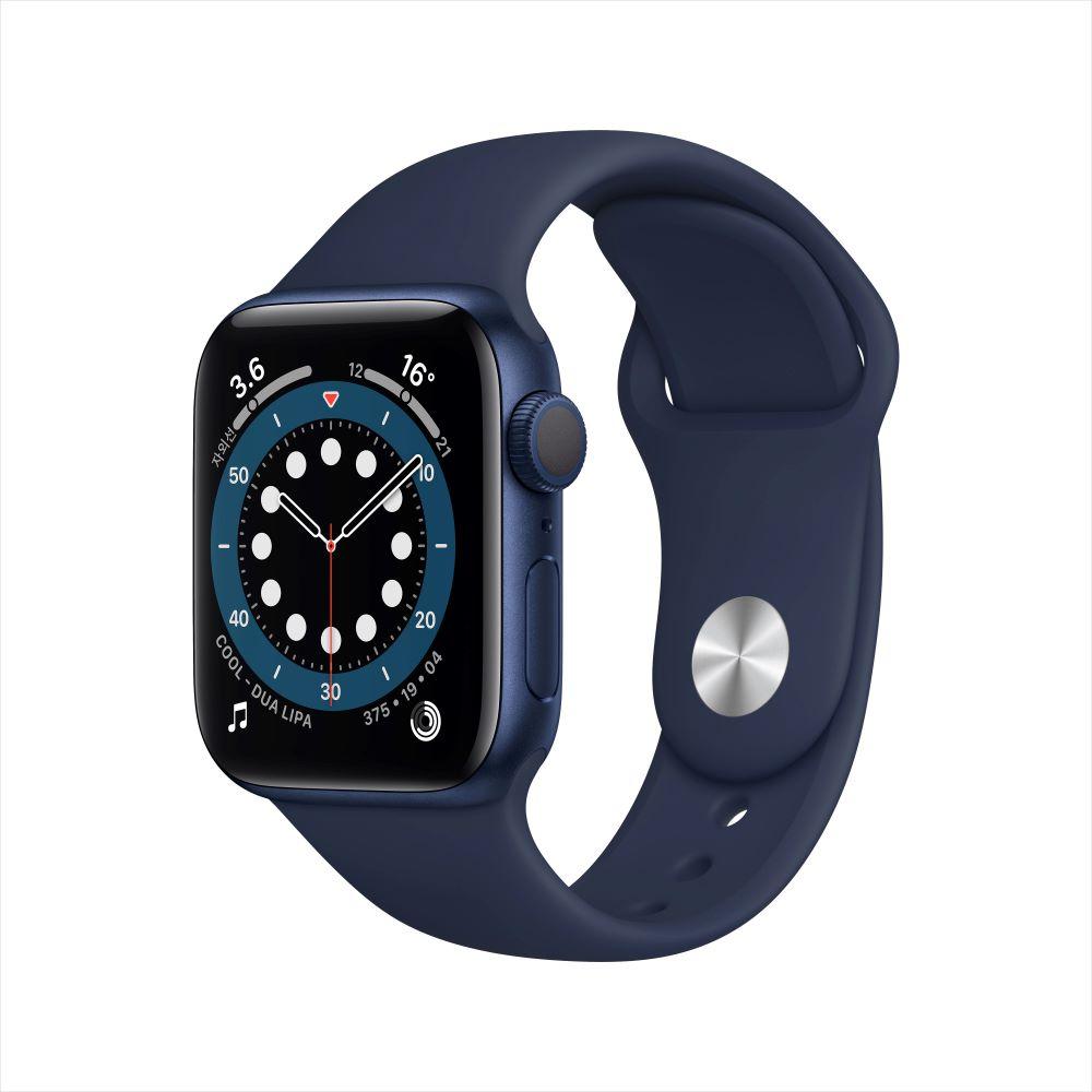 Apple Watch Series 6 GPS 40mm 블루 알루미늄 케이스, 그리고 딥 네이비 스포츠 밴드 (MG143KH/A)