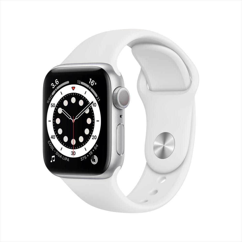 Apple Watch Series 6 GPS 40mm 실버 알루미늄 케이스, 그리고 화이트 스포츠 밴드 (MG283KH/A)