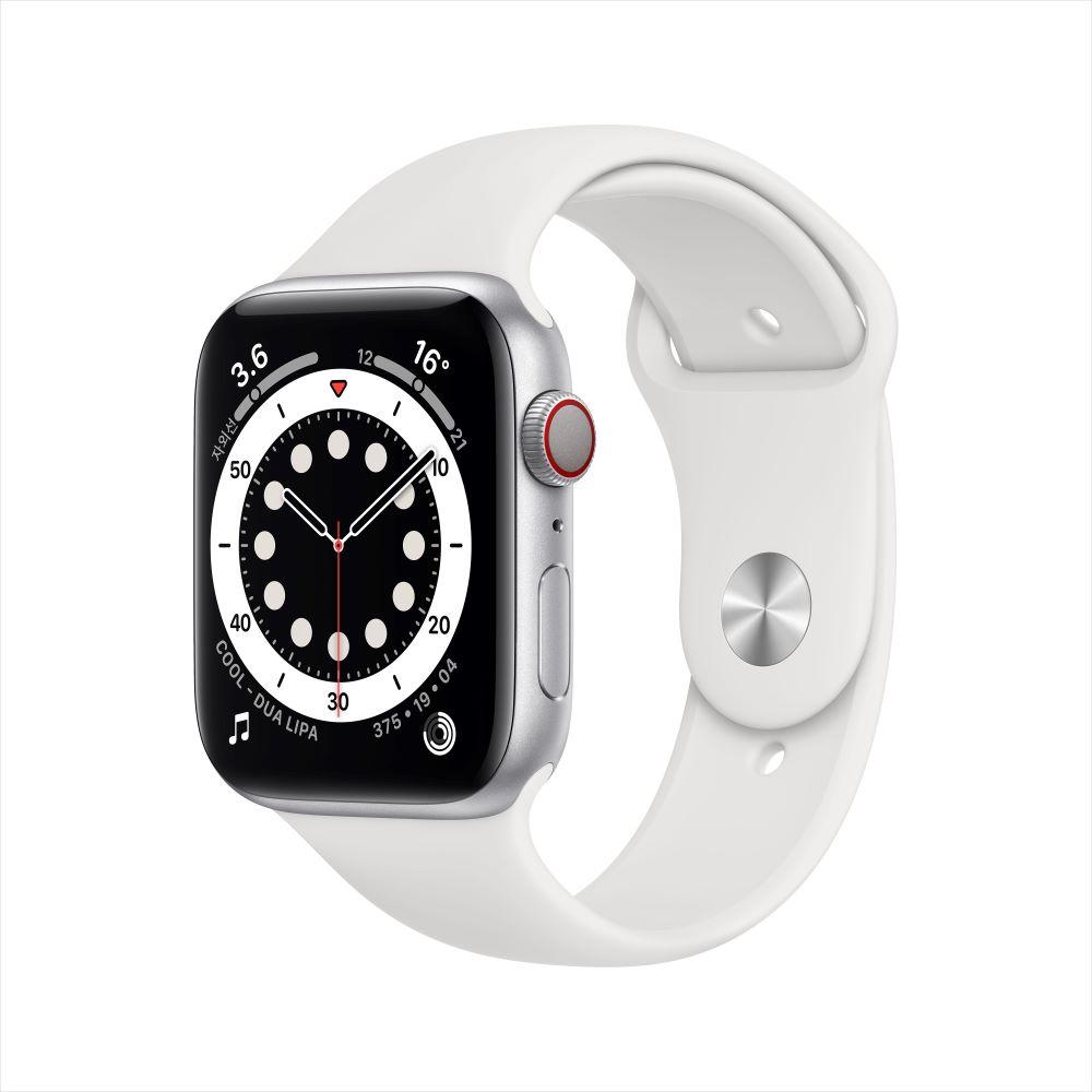 Apple Watch Series 6 Cellular 44mm 실버 알루미늄 케이스, 그리고 화이트 스포츠 밴드 (MG2C3KH/A)